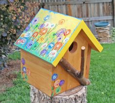Bird House - Bright Floral Bird House In Reclaimed Wood & Natural Branches…