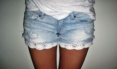 crochet/knit on bottom hem would be a great DIY to spice up some old shorts...