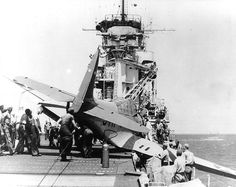 US Navy pilot C.M. O'Brien's TBD-1 Devastator aircraft crashed into Yorktown's starboard catwalk in a landing accident, 3 Sep 1940