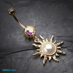 Golden Blazing Sun Belly Button Ring