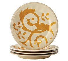 Rachael Ray Dinnerware Gold Scroll 4-Piece Salad Plate Set