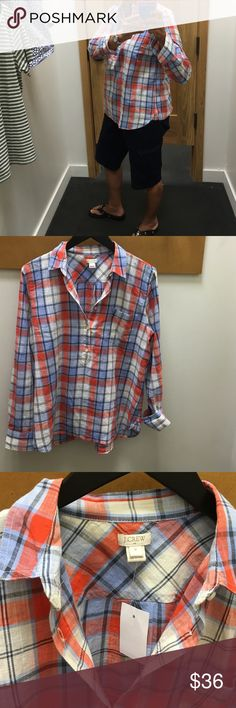 J. Crew shirt This shirt is new with original price of $64.50. It is 200% cotton, & has 5 buttons up the front. J. Crew Tops
