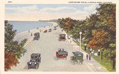 Lake Shore Drive, Lincoln Park, Chicago Vintage Scrapbook, Old Photos, Illinois, Past, Chicago, Lincoln, Lakeshore Drive, Sunset, Lake Shore