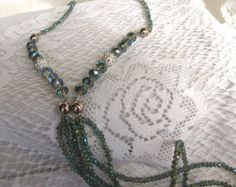 SALE 1920s Vintage Style Flapper Crystal Necklace,Gatsby Long 48 Inch Necklace Bracelet Set,Unique Aqua Blue Multi Style Crystal Necklace