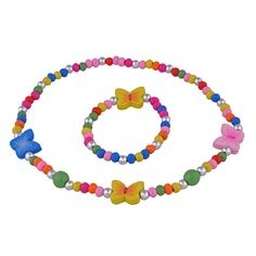Jewelry Sets for Little Girls - Colorful Stretch Butterfly Necklace and Bracelet Gifts Set for Kids
