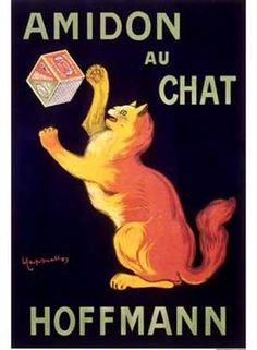 VintageArte - Leonetto Cappiello Amidon au Chat Vintage Poster : Posters and Framed Art Prints Available