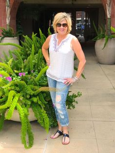 EMBROIDERED JEANS AND TOP - 50 IS NOT OLD | Embroidered | Sleeveless | Summer Outfit | Fashion over 40 for the everyday woman