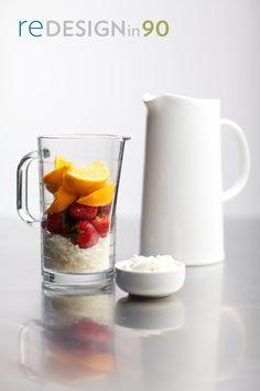 Orange Strawberry Smoothie:  1 c. orange juice  1 c. strawberries (fresh or frozen)  1/2 c. ice  2 scoops Vanilla My Victory    Nutritional Facts:  Calories: 315  Fat: 3 g  Carbs: 58 g.  Fiber 11.5 g  Protein 18 g.