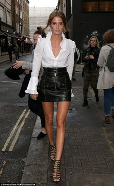Newly-engaged Millie Mackintosh and Lucy Mecklenburgh party together Glamorous: Millie Mackintosh was showing off her sartorial know-how when she attended the Sure Black and White party in central London on Tuesday night Sexy Outfits, Fashion Outfits, Womens Fashion, Skirt Fashion, Dress Outfits, Night Out Outfit, Night Outfits, Spring Outfits, Winter Night Outfit