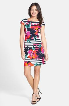 Eliza+J+Print+Cotton+Jacquard+A-Line+Dress+available+at+#Nordstrom