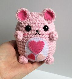 Valentine's Bear Plushie - Kawaii Amigurumi Teddy Bear - Cute Crochet Bear Plush - Valentine's Gifts - Gifts for Her