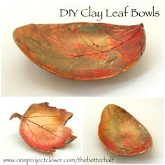 How to make DIY Clay Leaf Bowls from One Project Closer. Step by step easy tutorial. Easy for the kids