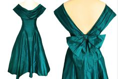 does Silk Monsoon Twilight Emerald Green Portrait Off Shoulder Open Back Occasion Evening Prom Xmas Party Swing Dress Ball Gown Ball Dresses, Ball Gowns, Prom Dresses, Formal Dresses, New Look Inspire, 80s Prom, Power Dressing, Swing Skirt, Xmas Party