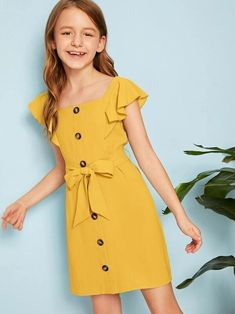 Shop Girls Ruffle Sleeve Button Up Belted Dress online. SHEIN offers Girls Ruffle Sleeve Button Up Belted Dress & more to fit your fashionable needs. Little Girl Outfits, Kids Outfits Girls, Cute Outfits, Girls Fashion Clothes, Kids Fashion, Fashion Dresses, Gothic Fashion, Cute Girl Dresses, Stylish Dresses