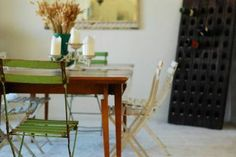 French bistro chairs wood table