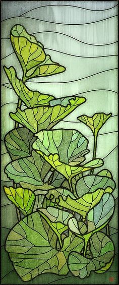 Green leaves kitchen door stained glass