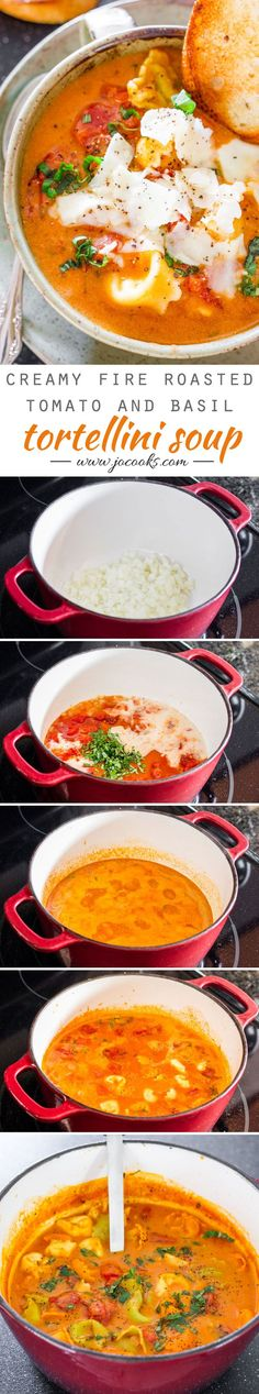 Creamy Fire Roasted Tomato and Basil Tortellini Soup