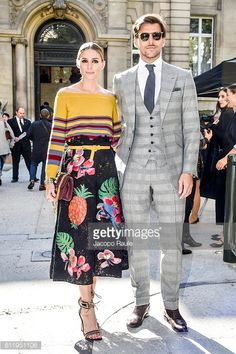 Olivia Palermo and Johannes Huebl are seen arriving at Valentino Fashion show during Paris Fashion Week Spring/Summer 2017 on October 2 2016 in Paris...