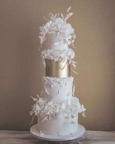 Glam white wedding cake, with a hint of bas relief texture and airy florals for our DC couple, Kezia & Nikote! Luxury Wedding Cake, Floral Wedding Cakes, White Wedding Cakes, Elegant Wedding Cakes, Wedding Cake Designs, Wedding White, Rustic Wedding, Wedding Cake Decorations, Wedding Cake Toppers