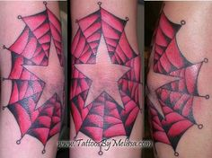 old school star and spider web tattoo on a girl's elbow  Artist: Melissa Capo  www.TattoosByMelissa.com