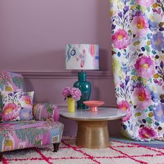 Enjoy sunshine all year round with our floral Majorelle Fabric, inspired by the Majorelle garden in Morocco. Bedroom Green, Bedroom Decor, Floral Curtains, Floral Fabric, Boutique Window Displays, Bluebellgray, Creative Home, Room Colors, Home Furniture