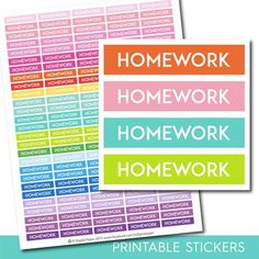 Homework stickers, Homework planner stickers, Homework printable stickers, School stickers, Student sticker, Study stickers, STI-242