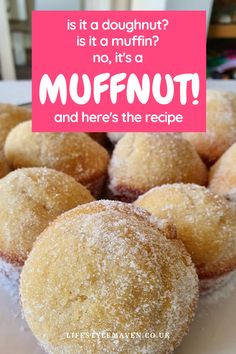 If you like muffins and doughnuts you're going to LOVE my muffnuts recipe. Smutty name, naughtily delicious. Donut Recipes, Muffin Recipes, Dessert Recipes, Cooking Recipes, Desserts, Doughnut Muffins, Baked Doughnuts, Children Recipes, Home Baking