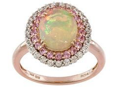 1.30ct Oval Ethiopian Opal With .27ctw Round Pink Spinel And .51ctw White Zircon 10k Rose Gold Ring