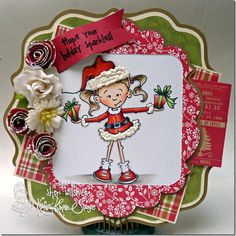 Kraftin' Kimmie Christmas in July Challenge featuring Holiday Lulu available at Kraftin' Kimmie Stamps  http://www.kraftinkimmiestamps.com/index.php?main_page=product_info=75_id=691 #cards, #copics, #stamping, #crafts, #Christmas Card