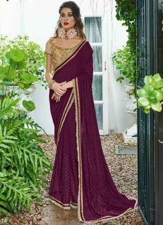 Powerful Purple Glitter Print Georgette Designer Sarees http://www.angelnx.com/Sarees/Designer-Sarees