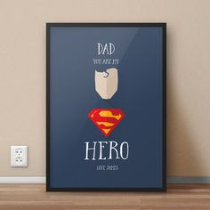 Fathers Day Present - Special Dad - Super Hero Dad, Father, Personalised Custom Print, Personalised Fathers Day Poster, You Are My Hero, Fathers Day Presents, Super Dad, Best Dad, Personalized Gifts, Unique Gifts, Dads, Prints