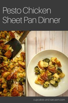 Pesto Chicken Sheet Pan Dinner - Cupcakes and Sarcasm Pesto Potatoes, Skinny Chicken, Homemade Pesto, Winner Winner Chicken Dinner, One Pan Meals, Pesto Chicken, Sheet Pan, Sarcasm, Dinners