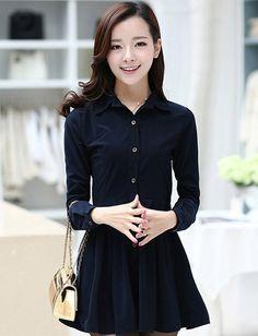 ชุดเดรสน่ารักแฟชั่นเกาหลี เดรสสั้นสีกรมท่า ผ้าคอลตอล คอปก แขนยาว, เลือกแบบชุดเดรสสวยๆน่ารักๆได้ที่  www.sompanshop.com