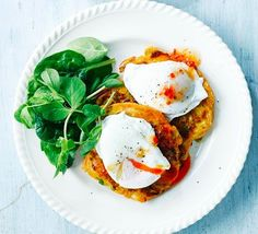 Sweetcorn & courgette fritters - - An easy, vegetarian fritter you can have on the table in 25 minutes. Top with an egg with a runny yolk and a drizzle of our chilli dressing. Bbc Good Food Recipes, Veggie Recipes, Vegetarian Recipes, Cooking Recipes, Healthy Recipes, Vegetarian Kids, Healthy Food, Kid Recipes, Veggie Meals