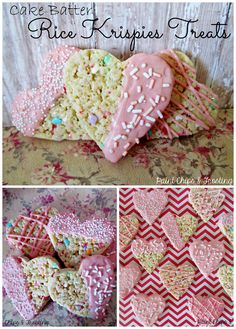Cake Batter Rice Krispies Treats   paintchipsandfrosting.com  Ooey Gooey cake batter marshmallow goodness loaded with sprinkles and cut into cute hearts! #ricekrispies #dessertrecipes  #cakebatter