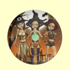 Sisters Three Witch Decorative Art Keepsake Digital Art Plate by XG Designs NYC. $29.95 #witch #halloween #samhain