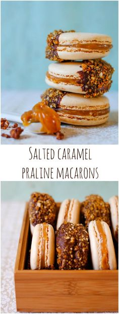 Salted Caramel Macarons dipped in Valrhona Chocolate and Praline
