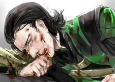 Who dares to bloody my Loki up so badly? Loki And Sigyn, Thor X Loki, Loki Marvel, Loki Laufeyson, Marvel Art, Marvel Comics, Avengers, Loki Sad, Deadpool