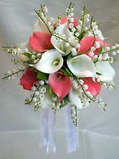 Wedding Bouquet - White & pink calla lillies with lily of the valley Real Touch