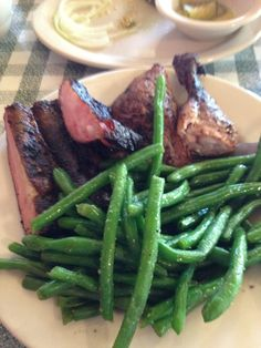 Ribs, chicken and green beans.  from The Swinging Door.