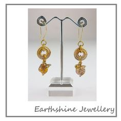 Wk 37/52 Pretty golden lampwork discs and leaf headpins by me (Earthshine) with some czech glass.