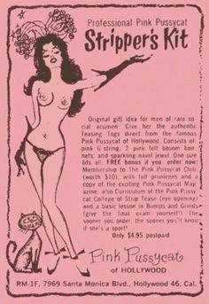 Pink Pussycat's Stripper's Kit, 50's, 60's, Retro, Mid Century, Peepshow, Striptease, Pulp Art, Burlesk, Burlesque, Cheesecake, T Shirt Design, Rockabilly, Psychobilly, Vulture Graffix, http://vulturegraffix.onlineshirtstores.com/