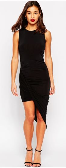 Asymmetric Sleevless Slinky Bodycon Dress