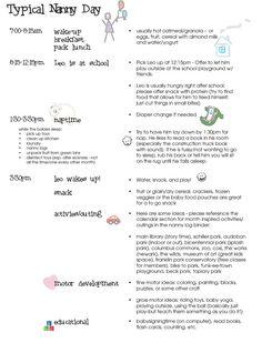 printable nanny log 1 year and older babysitter chart for