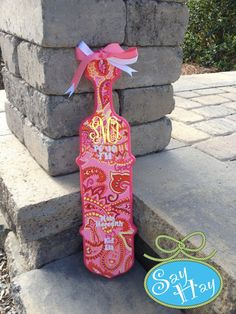Vera Bradley Sherbet Inspired Monogram Sorority Paddle - Cello Shaped Sorority Paddle hand painted and inspired by Lilly Pulitzer nautical, preppy print with personalization available. $58.00, via Etsy.