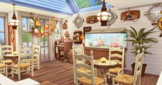 Sims 4 The Seafood Bar 海鮮餐廳 No CC - Ruby's Home Design Sims 4 Restaurant, Home Bar Plans, Cheap Kitchen Makeover, Sims 4 Kitchen, Sims 4 House Building, Sims 4 House Design, The Sims, Sims Cc, Sims 4 Cc Furniture