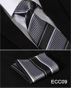 "Check 3.4"" 100%Silk Wedding Jacquard Woven Men Tie Necktie Pocket Square Handkerchief Set Suit ECC"