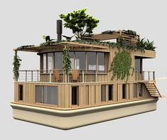 Architecture Blueprints, Architecture Design, Loft, Small Houseboats, Floating Architecture, Houseboat Living, Water House, Floating House, Container House Design