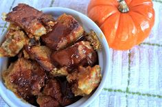 pumpkin bread pudding with salted caramel sauce | greens & chocolate
