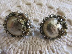 Vintage Pearl and Rhinestone Earrings/Vintage Miriam Haskell Earrings/Vintage Clip-ons/Vintage Costume Jewelry - FREE SHIPPING!!! by OwlMansionJewels on Etsy